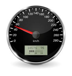 Speedometer black 3d vehicle gauge vector