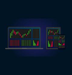 stock crypto exchange concept app multi cross vector image