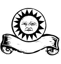 Sun face banner vector