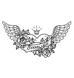 Tattoo heart with wings ribbon roses and crown vector