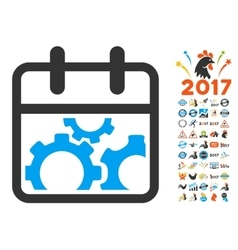 Technical Day Flat Icon with 2017 Year Bonus vector image