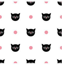 Tile pattern with cats and polka dots on white vector