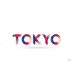 Tokyo colored rainbow word text suitable for logo vector
