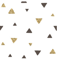 Trendy black and gold triangles seamless pattern vector