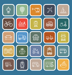 vehicle line flat icons on blue background vector image