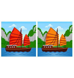 vietnamese junk boat in halong bay vector image