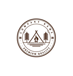 vintage retro tent campfire pine tree forest camp vector image