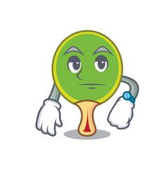 Waiting ping pong racket mascot cartoon vector