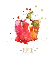 Watercolor red pepper with splashes in free style vector