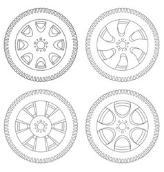 wheel with tyre set of outline icons vector image