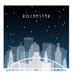 winter night in rochester night city vector image