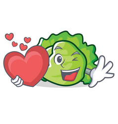 With heart lettuce character cartoon style vector