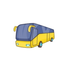 Yellow tourist bus icon cartoon style vector image