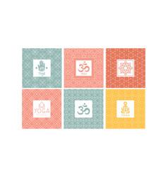 yoga studio logo design set creative template vector image