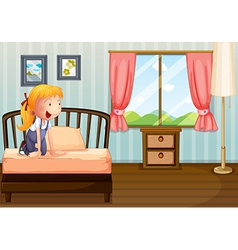 A girl smiling at her room vector image