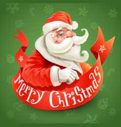 christmas card with santa claus on green vector image vector image