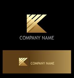 Gold letter k stripe shape logo vector