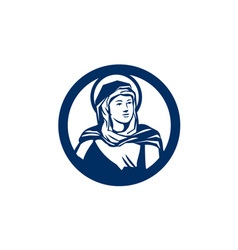Blessed virgin mary circle retro vector
