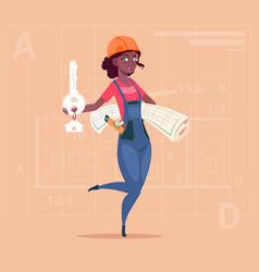 Cartoon female builder african american holding vector