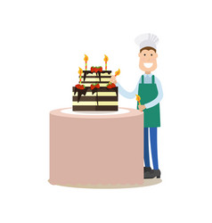 cook people in flat style vector image vector image