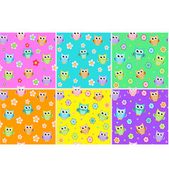 kids seamless pattern with owls owl endless vector image vector image