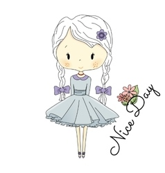 Little Girl Doll with Violet Bows fairy vector image vector image