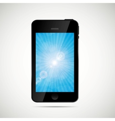 Mobile phone with nature screen vector image