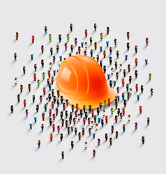 people stand around a helmet vector image vector image