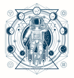 sketch of a tattoo with astronaut in a vector image