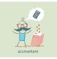 accountant with a book about thinking about vector image vector image