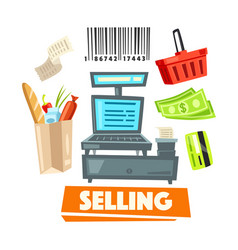 shopping retail selling shop items icons vector image