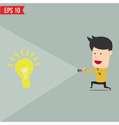 Businessman use flashlight find an idea vector image vector image