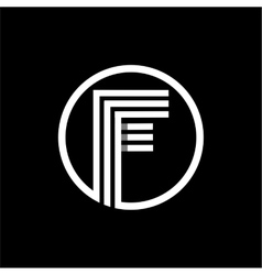 F capital letter of three white stripes enclosed vector image vector image
