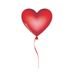 red heart shape balloon with ribbon vector image