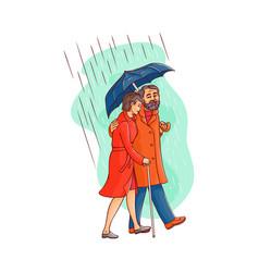 senior old couple walking under umbrella vector image