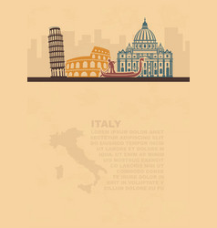 the template of the leaflets with a map and vector image vector image