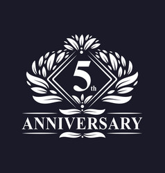 5 years anniversary logo luxury floral 5th vector