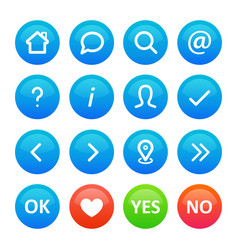 a set round icon buttons in for a web blog on vector image