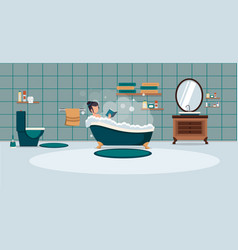 a woman washes in the bathroom with foam bathroom vector image