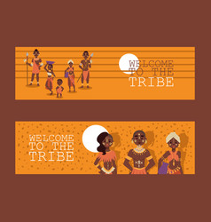 african native family tribe people vector image