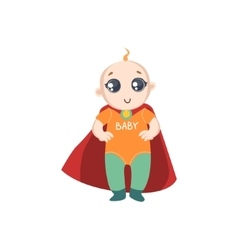 Baby Dressed As Superhero With Red Cape vector