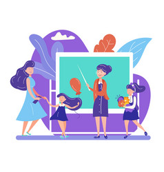 Back to school concept with teacher stand at vector