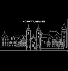 Bergen silhouette skyline norway - bergen vector