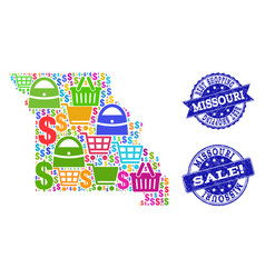 Best shopping collage of mosaic map of missouri vector