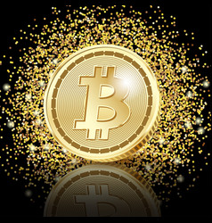 bitcoin golden coins on glitter dust background vector image