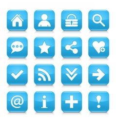 Blue basic sign rounded square icon web button vector image