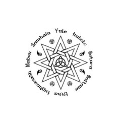 Book shadows wheel year wicca paganism vector