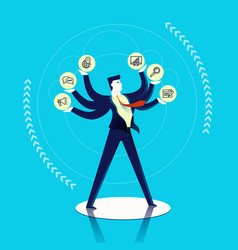 business man multitask concept vector image