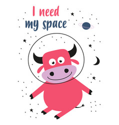 card with cute bull in space vector image