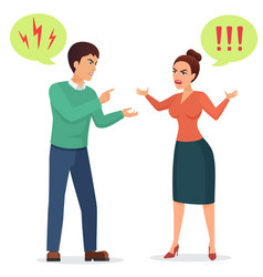 Cartoon man and woman quarreling angry couple vector